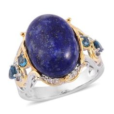 Accessorize in style with this lapis lazuli ring. Accented with London blue topaz, the piece is set in 14K yellow gold over sterling silver. Pair it with your favotrite outfit and step out in style.  Free Shipping Gift Box