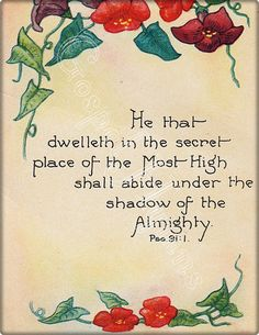 Psalm 91 Vintage Scripture Print cards or framable by GospelHymns