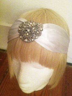 Deco Diamond-Silk and Swarovski Crystal Turban Bridal  Headwrap-Jeweled Headpiece-Bohemian-Vintage Style