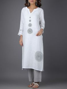 Ivory Linen Kurta with Bead Work
