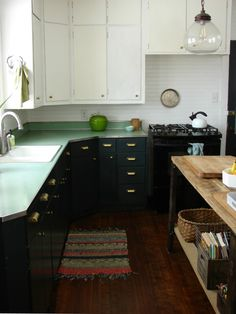 Abbey and Phil Hendrickson's transformed kitchen with original Formica counters.