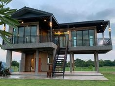 Narrow House Designs, Modern Small House Design, Modern Villa Design, Tiny House Design, Stilt House Plans, House On Stilts, Cottage Style House Plans, Craftsman House Plans, Facade House