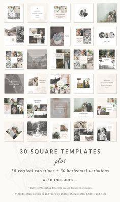 social media templates lemon cove collection easy to edit Instagram Design, Instagram Feed, Snapchat Instagram, Instagram Collage, Social Media Branding, Social Media Design, Album Fotos Digital, Photoshop, Page Design