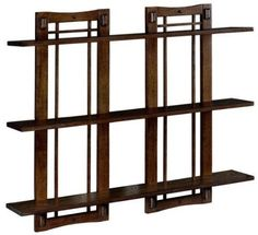 Home Decorators Collection Artisan Double 32 in. Open-Panel Wall Shelf in Macintosh at The Home Depot