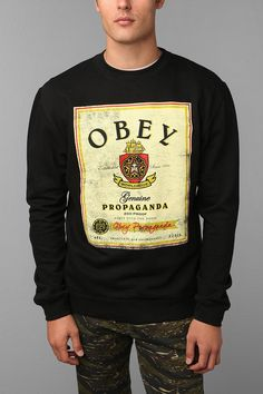 OBEY Whiskey Crewneck Sweatshirt. I digg black sweatshirts.