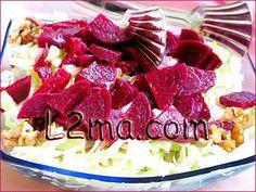 سلطة الشوندر Cranberry Salad Recipes, Arabic Food, Pickles, Salads, Drink, Tableware, Arabian Food, Beverage, Dinnerware