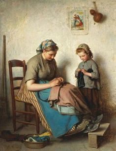 Charles Moreau, The Knitting Lesson, oil on panel.
