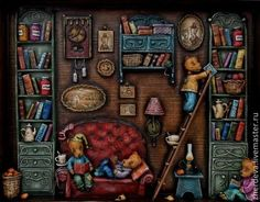 """My grandfather's library"" Volume picture. Everyday scenes from the life of furry babies. Wood, paper and thread, nothing more. Multi-layer painting with tempera paints. Author- Zherdevа Maria."
