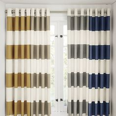 Alston Ivory/Blue Striped Curtains  Grey Striped Curtains