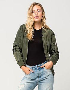 FULL TILT Sherpa Womens Bomber Jacket Green