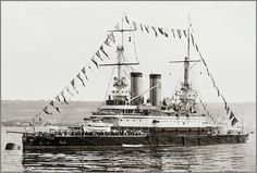 Tri Sviatitelia a Russian pre Dreadnought battleship built by Nikolayev Dockyard & completed 1896. Served in Black Sea Fleet, led pursuit of mutinous battleship Potemkin in 1905. 17/11/14. took part in the inconclusive Battle of Cape Sarych against German battlecruiser SMS Goeben & light cruiser SMS Breslau on 18/11/14. Captured by Germans at Sevastapol in 05/18. Handed over to allies at Armistice. her engines were wrecked by British 24/04/19 to prevent use by Soviets. Scrapped in '23