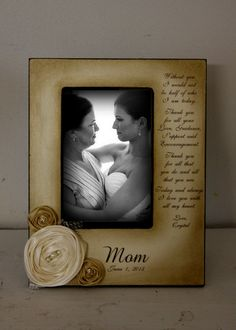 Mother Daughter  Wedding Frame Bride Keepsake Personalize Picture Frame 4x6 A mother holds her daughters hand  heart forever.