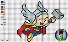 Thor bebê Crochet Cross, Crochet Chart, Crochet Patterns, Bead Patterns, Marvel Cross Stitch, Cross Stitch Baby, Thor, Cross Stitch Designs, Cross Stitch Patterns