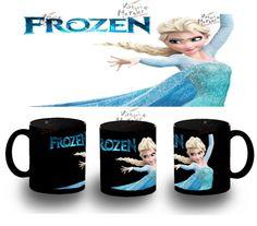 Taza Negra Frozen Elsa Sola Y Anna Niñas Nieve Muñeco Ana Mug Tazza Tasse Coupe - Bekiro