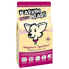 From Barking Heads Dog Food Tiny Paws Quackers Grain Free Duck Small Dog Breeds, Small Breed, Online Pet Supplies, Dry Dog Food, Dog Barking, Grain Free, Dog Food Recipes, Grains, Pets