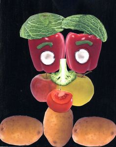 Art Projects for Kids: Fruit Face A great way to use all those seed catalogs.