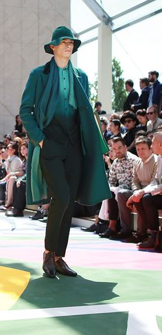 Diffused dégradé silk Burberry sweater with complementary colour tones - yesterday on the men's Spring/Summer 2015 runway
