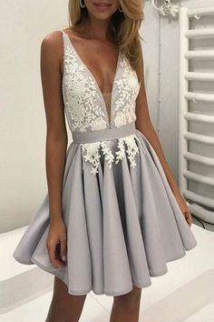 Cute lace appliqued chiffon prom dress, homecoming dress