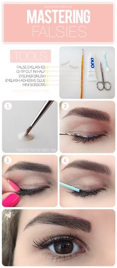 Tbds mastering falsies  *Genius! apply the glue to your lash line like liner instead of putting the glue on the strip. beauty