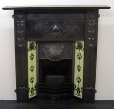 Victorian Art Nouveau Cast Iron Tiled Fireplace