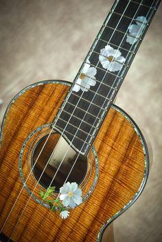 Chuck Moore builds hand crafted custom ukuleles on the Big Island of Hawaii using locally grown koa and native woods. Ukulele Art, Cool Ukulele, Ukulele Chords, Guitar Art, Cool Guitar, Ukulele Design, Guitar Inlay, Guitar Painting, Acoustic Guitars