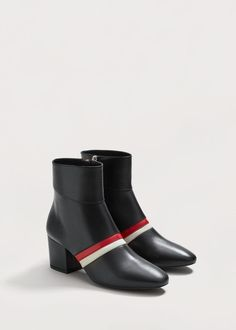 Trimmed leather ankle boots - Women | MANGO USA