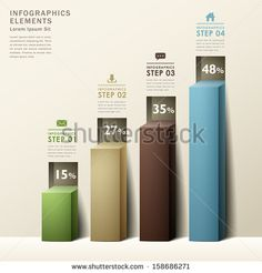 modern abstract 3d chart infographic elements