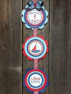 Ahoy It's A Boy | Nautical | Baby Shower | Door Sign | Navy Blue, Light Blue, Red | Anchors | Sailboats