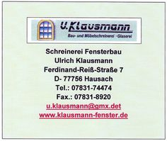Firma Klausmann Fensterbau Hausach Kinzigtal Ortenaukteis Schwarzwald, BauFachForum Baulexikon Pfullendorf Seepark. www.BauFachForum.de