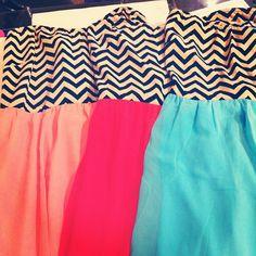 Different colored chevron dresses