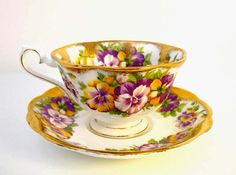 Royal Albert Bone China Teacup & Saucer Gold and Purple Pansies