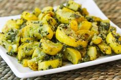 Recipe for Roasted Yellow Summer Squash with Sage-Pecan Pesto from Kalyn's Kitchen
