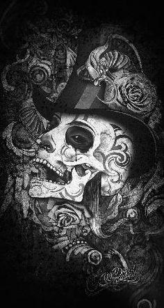 Dark art skeleton and flower illustration pen and ink Sugar Skull Tattoos, Sugar Skull Art, Sugar Skulls, Dark Fantasy Art, Dark Art, Tattoo Voodoo, Caveira Mexicana Tattoo, Tattoo Crane, Totenkopf Tattoos