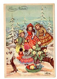 antica cartolina Buon Natale epoca 1956 illustratore Hélène bambini giocattoli