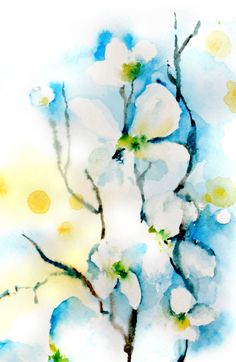 Abstract Flowers Watercolor Painting Art Print by CanotStopPrints Watercolor Paintings Nature, Watercolor Print, Watercolor Flowers, Painting Art, Watercolors, Blue Painting, Painting Abstract, Art Floral, Abstract Flower Art