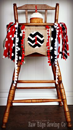 RED WAGON Inspired Birthday Age High Chair by RawEdgeSewingCo