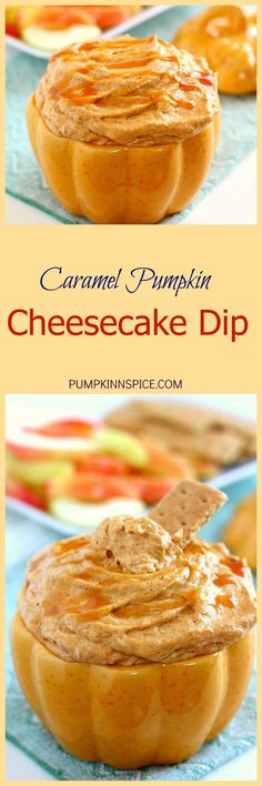 Filled with a cream cheese base and swirled with caramel and pumpkin, this Caramel Pumpkin Cheesecake Dip takes just five minutes to make and captures the flavors of fall. It makes the perfect appetizer or dessert and tastes just like pumpkin cheesecake!