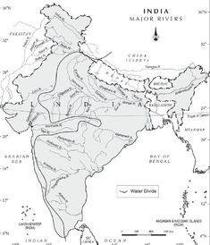 The Indian Drainage System The Indian drainage system consists of a large number of small and big rivers. India World Map, India Map, Geography Activities, Geography Map, Indian River Map, Ancient Indian History, Earth Science Lessons, System Map, General Knowledge Book