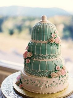 Birdcage cake in my future wedding colors of pink and tiffany blue