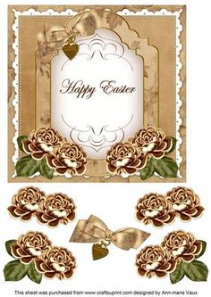 Tea Rose Happy Easter Fancy 7in Decoupage Topper on Craftsuprint - Add To…