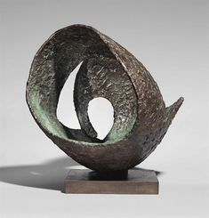 Artwork by Barbara Hepworth, Involute II, Made of bronze with a brown and green patina Geometric Sculpture, Hand Sculpture, Sculpture Projects, Abstract Sculpture, Bronze Sculpture, Metal Sculptures, Garden Sculpture, Abstract Art, National Museum Of Wales