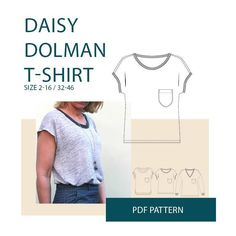 5780d1042cc4 Relaxed fit easy to sew T-shirt with dolman sleeve. The Daisy Dropped  shoulder