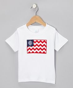 Take a look at this White American Flag Monogram Tee - Infant, Toddler & Boys by A Stitch Of Blue on #zulily today!
