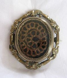 LOVELY ANTIQUE VICTORIAN SWIVEL TWO SIDED MOURNING HAIR BROOCH~PIN~PENDANT