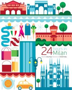 Patrick Hruby created the lovely 24 hours in Milan illustration which features some of the cities iconic landmarks. Italy Illustration, Travel Illustration, Graphic Design Illustration, Illustrations Vintage, Illustrations Posters, Art Posters, Milan Map, Milan Travel, Travel Party