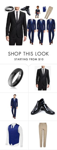 """""""Fairytale Wedding #2: The Men"""" by thekaylabella ❤ liked on Polyvore featuring Bling Jewelry, HUGO, Vince Camuto, River Island, men's fashion and menswear"""