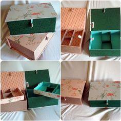 Variações sobre o mesmo tema: cliente pediu mesmo modelo de caixa pra biju e mesmo tecido (delicadas flores e gaiolas) em tons diferentes: verde e salmão. E o resultado foram 2 caixas completamente diferentes!  www.munayartes.com