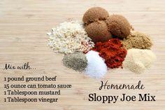 Homemade Sloppy Joe Mix ketchup mustard vinegar worshire onion flakes garlic powder season salt