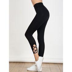Black High Waist Lattice Detail Cropped Leggings ❤ liked on Polyvore featuring pants, leggings, high rise trousers, cropped trousers, high-waisted leggings, highwaist pants and high rise pants
