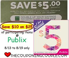 Double Up offers at PUBLIX this week (8/13 - 8/19) and get $10 off $20 worth of select items!   Click the link below to get all of the details ► http://www.thecouponingcouple.com/up-to-10-off-20-purchase-at-publix-813-819-instant-savings-skip-the-clip/  #Coupons #Couponing #CouponCommunity